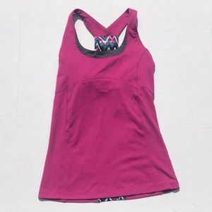 Soybu Pink Tribal Print Athletic Tank Shelf Bra